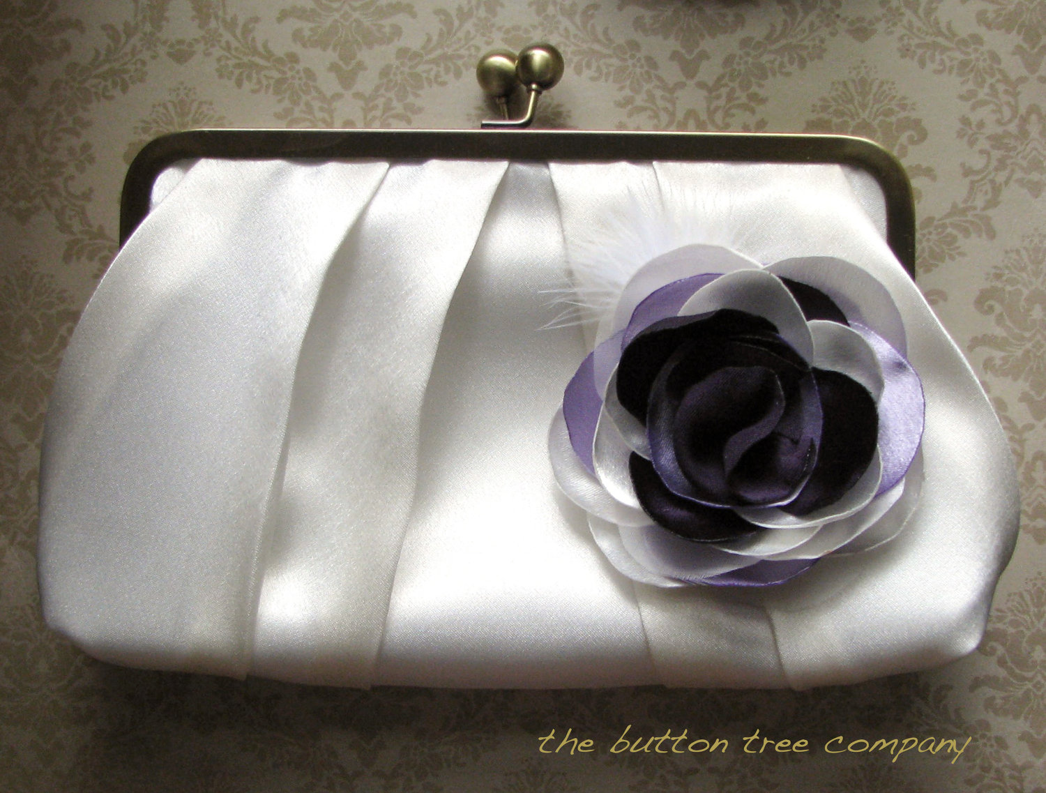 Ivory Wedding Clutch with Purple and Ivory Flower Adornment