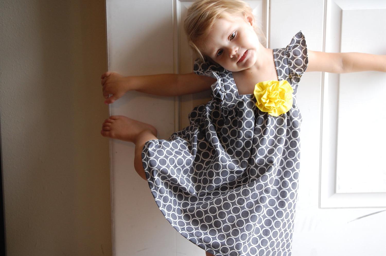 Girls Gray White Dot Dress