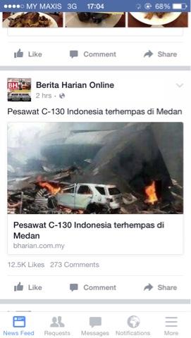 Pesawat Harcules C-30 Terhempas di Medan