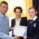 Shaun McFadden and Fiona Temple, Principal presenting Kellyanne McFadden with teh 2nd year Student of the Year Award at the Mulroy College Junior Prize Giving.   Photo:- Clive Wasson