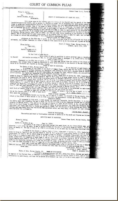 Flora E. Dudley file partitions law suit again Eda Irwin 1923 8