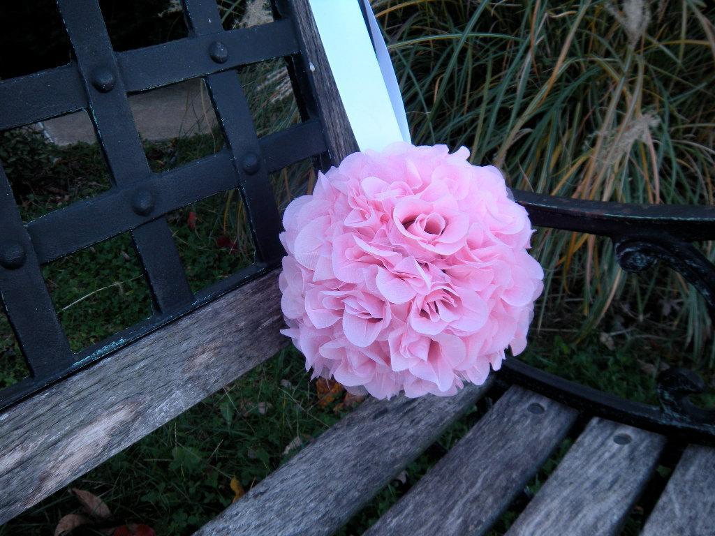 Wedding Pomander Kissing Ball, Wedding Decor, Pink Organza Roses
