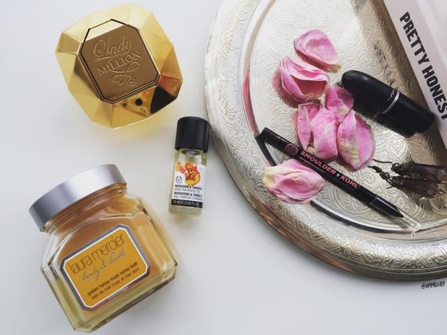 Paco Rabanne Lady Million perfume, The Body Shop Mandarin & Tangelo oil and Laura Mercier Honey Bath