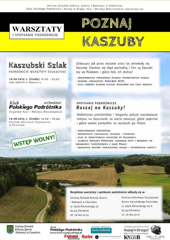 Poznaj Kaszuby - plakat warsztatów podróżniczych