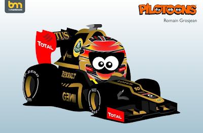 pilotoons 2012 Lotus E20 и Ромэн Грожан