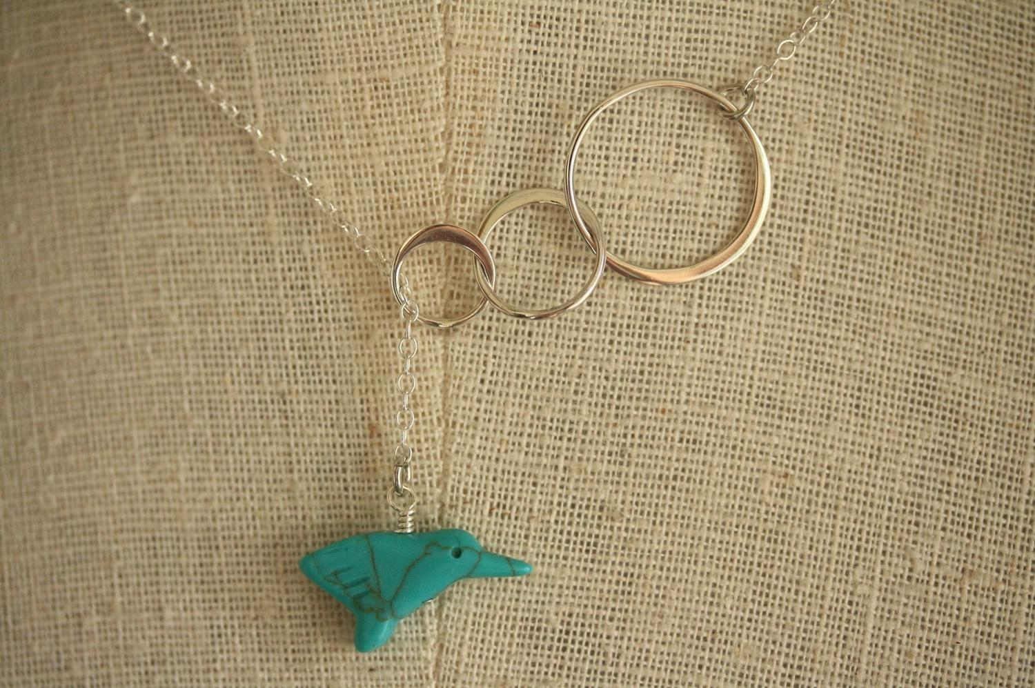 Sterling Silver Rings Lariat, Bridal Necklace, Aqua Blue Bird Jewelry,