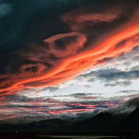 Sunset in Iceland by Tim Vollmer - Landscapes Sunsets & Sunrises ( clouds, amazing, iceland, red clouds, sunset, tim vollmer, burning sky )