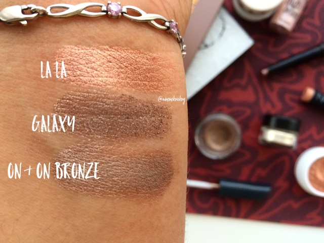 colourpop lala swatch, jouer galaxy swatch, maybelline on and on bronze swatch on NC40 skin
