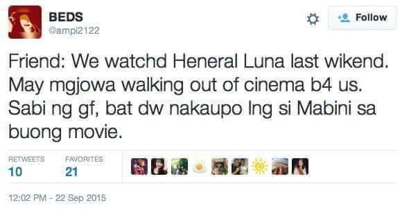 Image of Student post asking why Mabini seated the whole time in Antonio Luna movie.