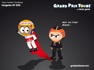 Льюис Хэмилтон пытается улететь от Ромэна Грожана в квалификации на Гран-при Венгрии 2012 - комикс Grand Prix Toons