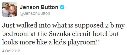 Дженсон Баттон в твиттере на Гран-при Японии 2012