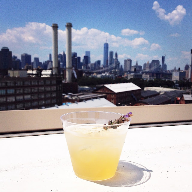 Lavender cocktails on the Brooklyn Grange Navy Yards rooftop