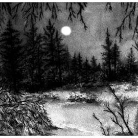 Winter Night... by Morris Kleyman - Drawing All Drawing ( time, drawings, seasons, drawings..., landscape )
