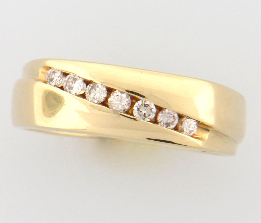 Mens 14k Yellow Gold Diamond Wedding Band with .25 CT of Diamonds