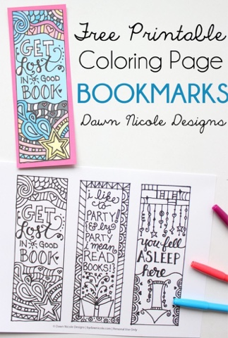 free colorable bookmarks
