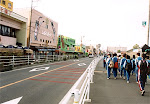 Walking through Teradomari at the beginning of the Marathon Walk, October 2001.
