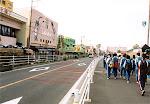 Walking through Teradomari at the beginning of the Marathon Walk, October 2001.
