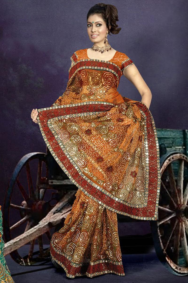 Carrot Orange Wedding and Festival Net Embroidered Saree   41.58