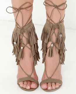 Suede Fringe Lace Up Sandals Heels