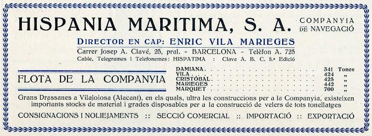 Anuncio de actividades de la Empresa. De la revista Catalunya Maritima. Año 1919.jpg