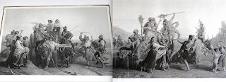 Две очень большие гравюры в деревянных рамах. 19-й век. Размер гравюры 81/53 см. 4500 евро.