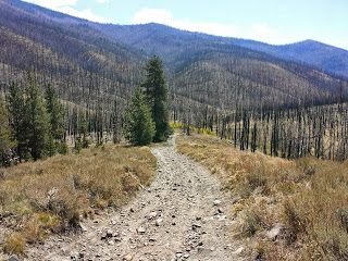 Looking back at a short hike-a-bike on the Fish Creek loop.