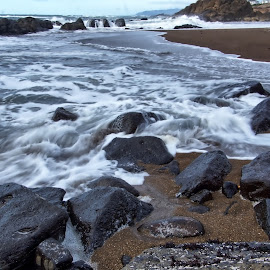 Among the rocks by Gaylord Mink - Nature Up Close Water ( water, nature, ocean, rocks )