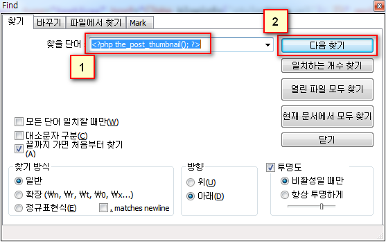 Notepad++에서 \<\?php the_post_thumbnail(); ?> 검색하기