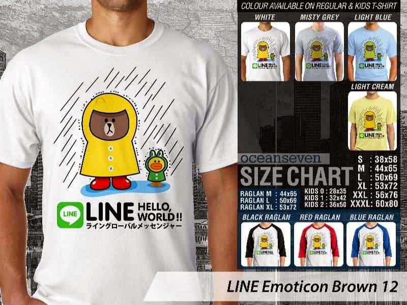 KAOS IT LINE Emoticon Brown 12 Social Media Chating distro ocean seven