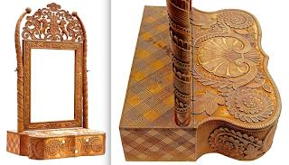 Антикварное настольное зеркало. 19-й век. Резьба, два выдвижных ящичка. 41/30/74 см. 4500 евро.