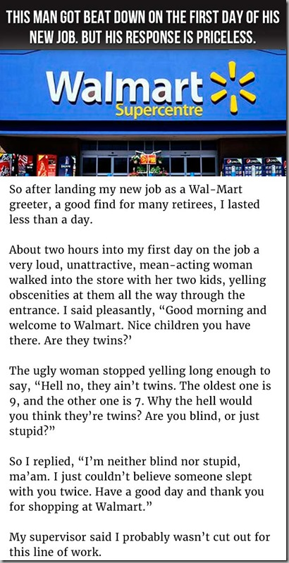 new job at walmart