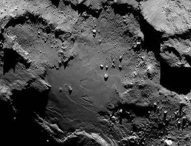 pedras, crateras e penhascos íngremes no cometa