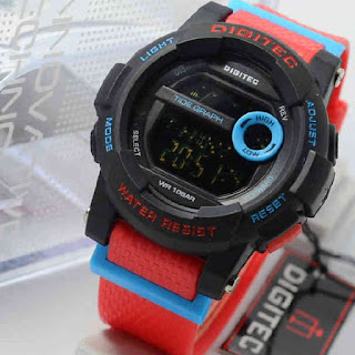 Jam Tangan Digitec DG2074 4lady red rubber blue black Original