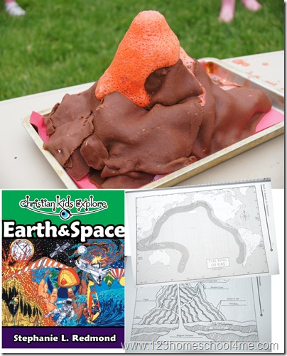learninga bout volcanos in homeschool scinece with chrsitian kids explore earth and space