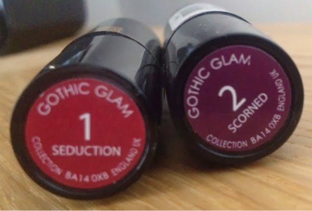 Collection's Gothic Glam lipsticks in Seductionand Scorched