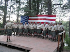 The staff performs the traditional American Heritage program on Friday evenings, treating Scouts and leaders to song and spoken words, telling the story of the history of the United States in an engaging campfire presentation.