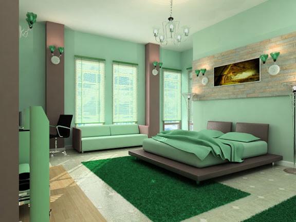 schlafzimmer design mit grünem touch