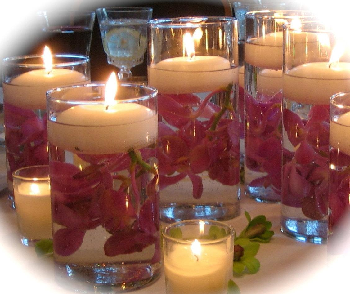 10 Piece Budget Bride Wedding Reception Table Vase with Floating Candle and