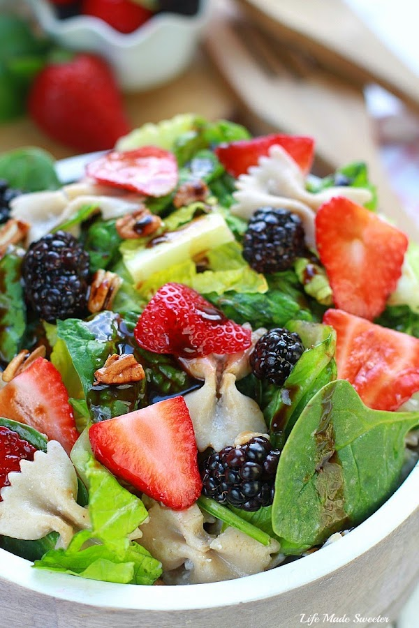 Mixed Berry Spinach Pasta Salad makes a light & refreshing side dish.jpg