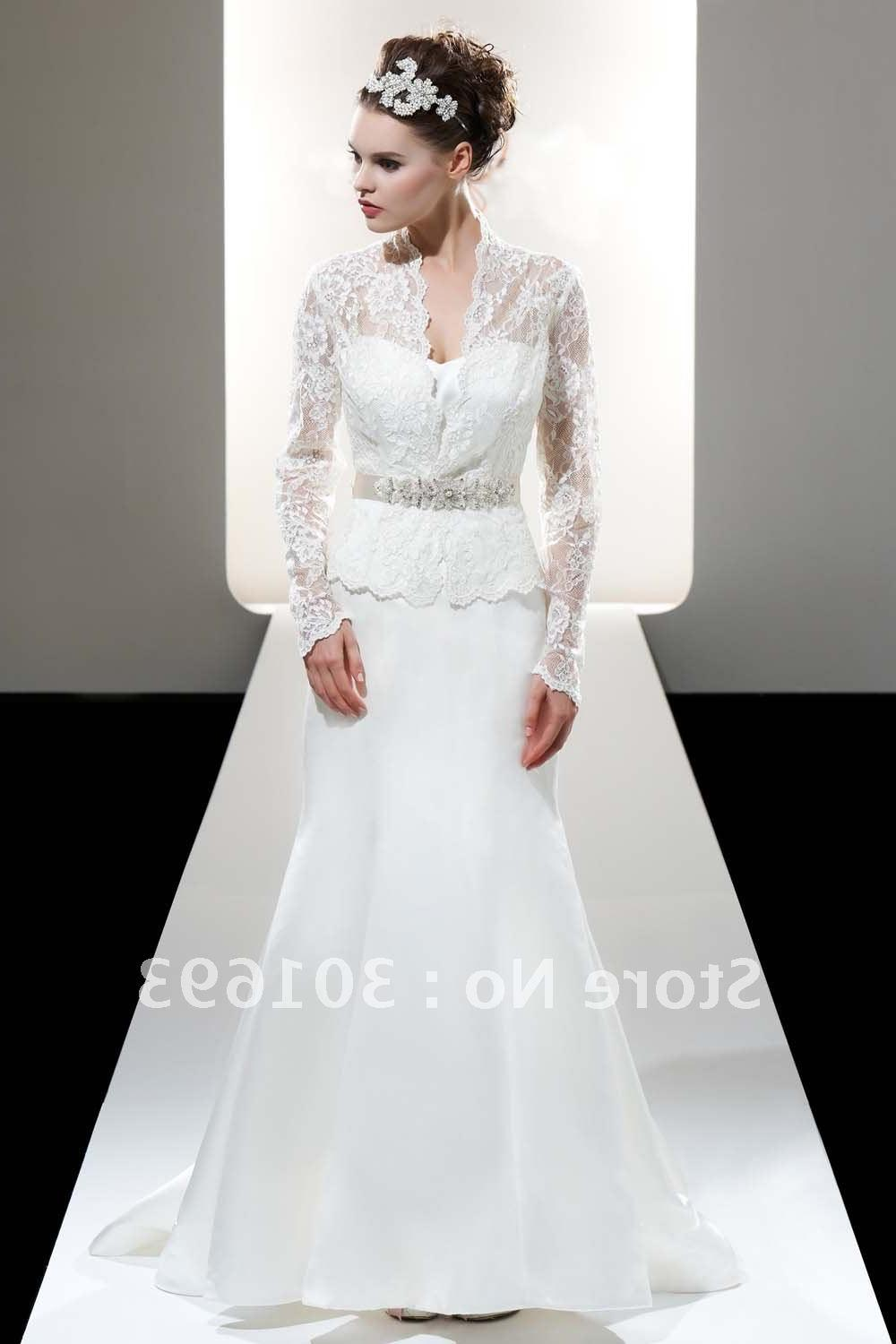 Free Shipping OLW25 Long Sleeve Lace Mermaid Wedding Dresses with