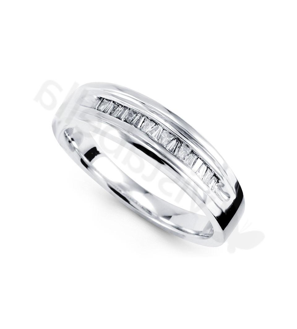 14k White Gold 0.60 Ct Baguette Diamond Wedding Ring - Wedding Bands