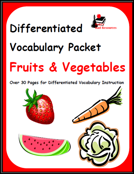 Differentiated fruits and vegetables vocabulary packet for ESL students - free download from Raki's Rad Resources