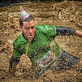 The Clown ! by Marco Bertamé - Sports & Fitness Other Sports ( water, splash, differdange, cap, green, 2015, number, waterdrops, soup, 1914, luxembourg, ¨splatter, mud, strong, drops, dirty, brown, strongmanrun, man,  )