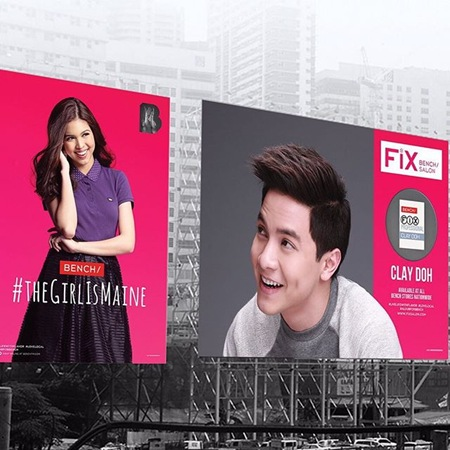 Maine Mendoza and Alden Richards on Bench billboards