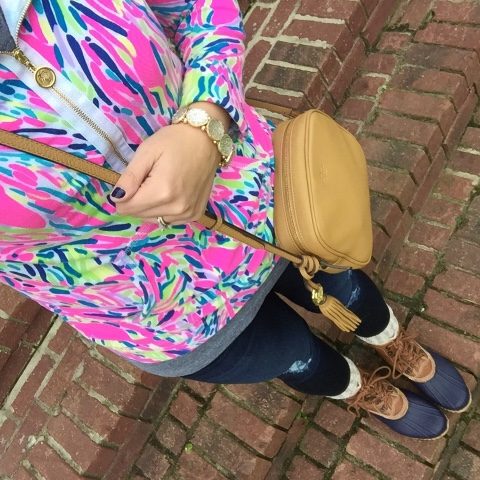 lilly pulitzer, preppy style, how to wear duck boots