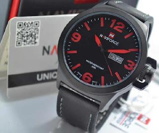 jam tangan Naviforce NF9060 black leather Red