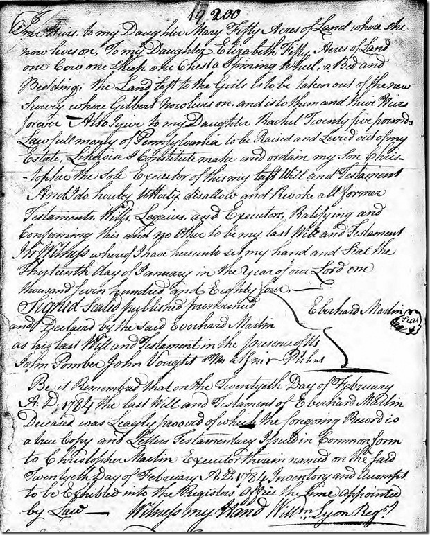 MARTIN_Eberhard_last will & testament_1784_Pennsylvania_pg 2 of 2