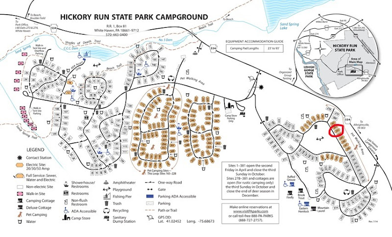 Hickory Run State Park Campground Map, Pennsylvania State Parks