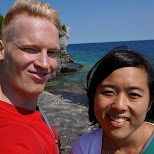 Matt & Brittany, with GoPro marks on my forehead in Tobermory, Ontario, Canada