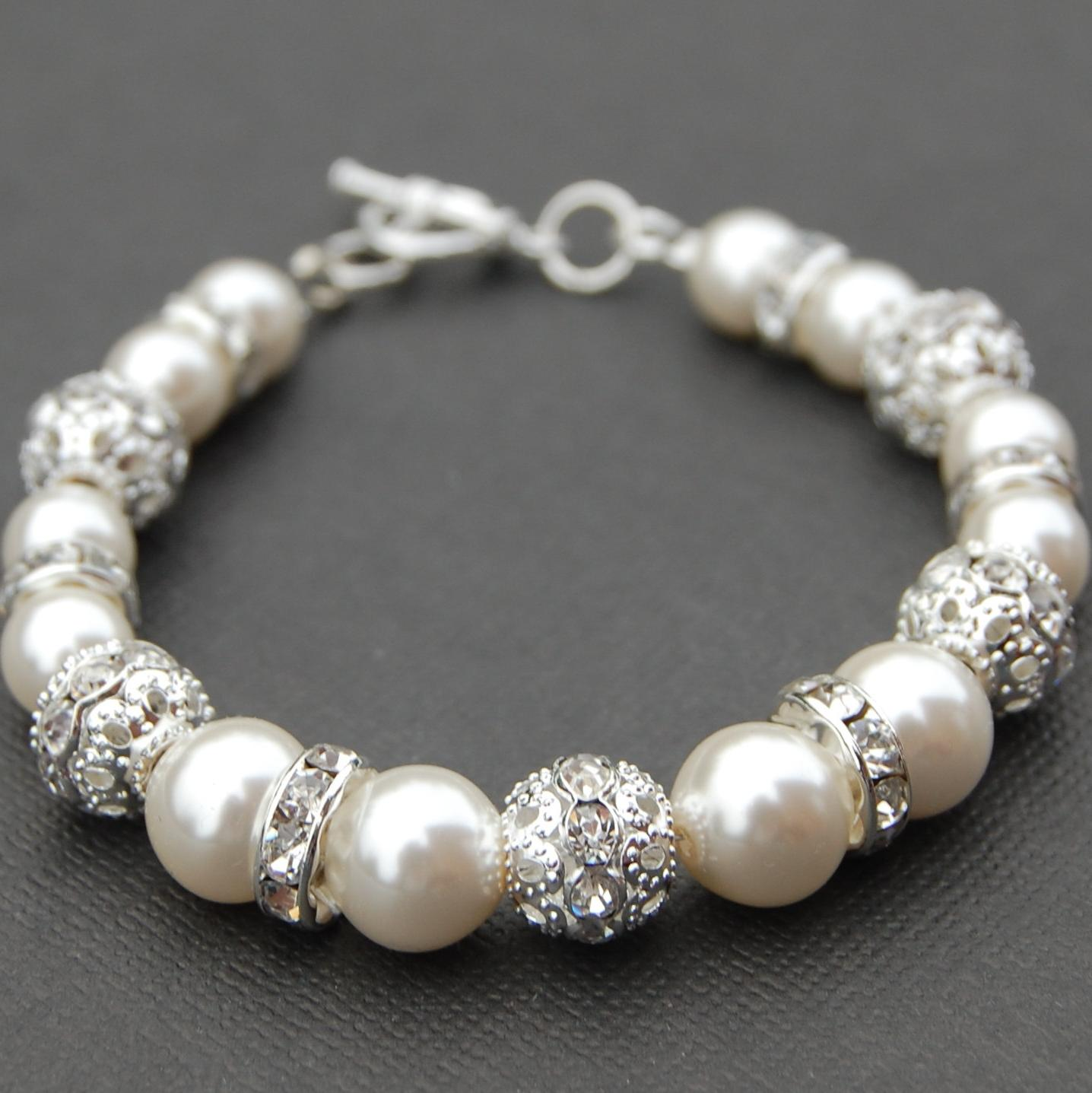 Sparkling Ivory Pearl Bracelet, Bling Wedding Jewelry, Bridesmaid Bracelet,